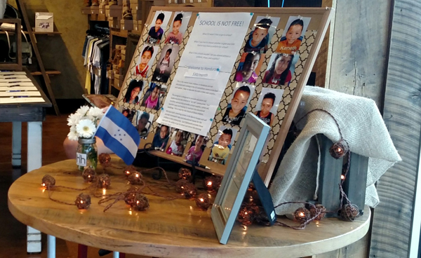 A tabletop display for the Hearts 2 Honduras fundraiser.